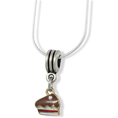 Piece of Cake Charm Snake Chain Necklace (Piece Of Cake Charm)