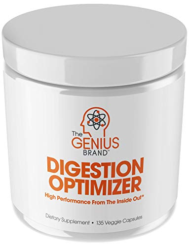 Genius Digestive Enzymes for Digestion & Total Wellness | Restore Gut Heath w/Bromelain, Ginger Root & Prebiotics – Natural Relief Formula for Gas, Heartburn, Constipation | 135 Vegetarian Capsules