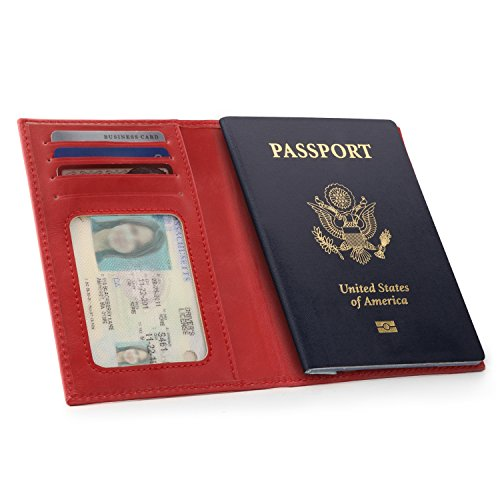 OTTO Leather Passport Wallet - RFID Blocking - Unisex (Red) by OTTO (Image #4)