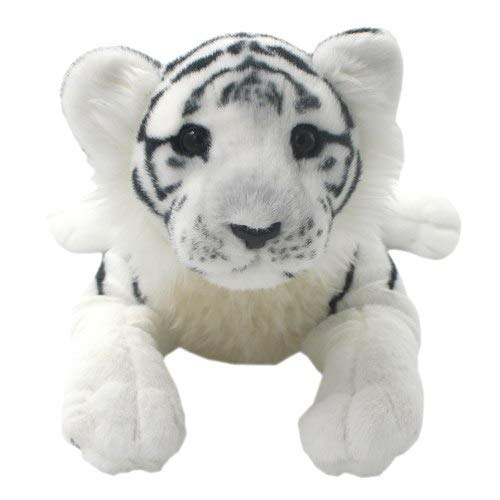 FairOnly Realistic Stuffed Animals Toys Tiger Leopard Lion Panther Lioness Cheetah Plush Pillows for Kids' Birthday Gifts,40 cm White Tiger
