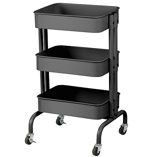 Three Tier Trolleys (Yaheetech Home Kitchen Storage Rolling Utility Cart)