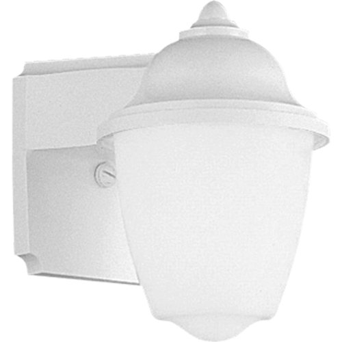 Progress Lighting P5844-30 White Outdoor 1-Light Plastic Wall Lantern with White Acrylic Glass, White