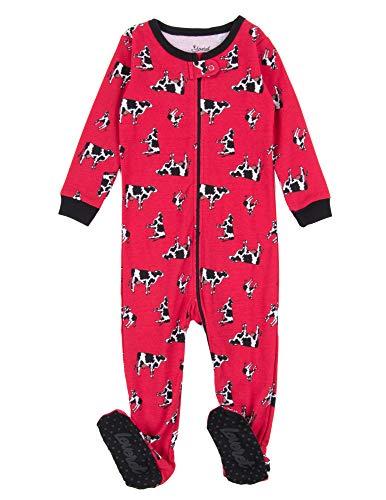Leveret Kids Pajamas Baby Boys Girls Footed Pajamas Sleeper 100% Cotton (Cow, Size 3 -