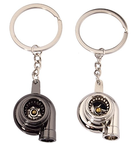 JOKHOO Turbo Turbocharger Keychain Key Chain Ring Keyring Keyfob,Make Whistle Sound(2 Pack) (Black&Silver)