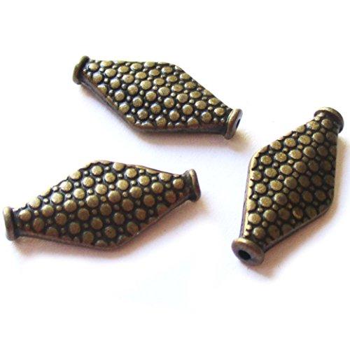 Heather's cf 44 Pieces Brass Tone Pattern Diamond Shape Flat Beads Findings Jewelry Making (Bali Diamond Bead)