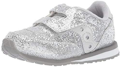 Saucony Girls' Baby Jazz HL Sneaker, Silver/Sparkle, 120 Medium US Little Kid