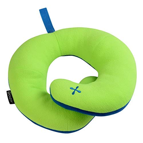 BCOZZY Kids Chin Supporting Travel Neck Pillow - Supports The Head, Neck & Chin. A Patented Product. Child Size, Apple-Green