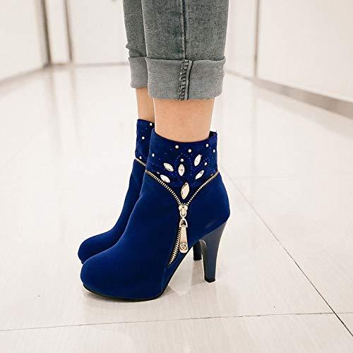 Stivaletti Il Wsr Donna Martin Alla Tacco Da Donna Caviglia Alto Antiscivolo Stivali Caldi blu Con Invernali 40 pqq7XUw