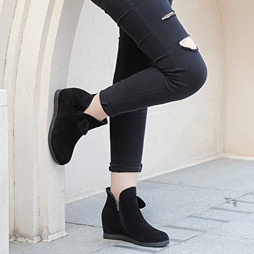 Montante Femme Rosegal Hiver Rond Compensée Bottines Bottes Chaussure Automne Mode Noir Talon Polaire Compensé Bout rrX50qB