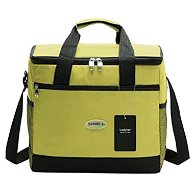 Ladyker Large Insulated Cooler Bag,Lunch Bag,Lunch Box,13L Picnic Lunch Cooler Tote Bag with Zipper for Both Women and Men,Green