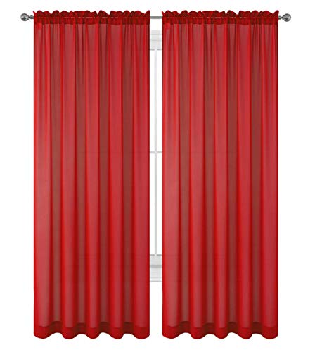 "WPM 2 Piece Beautiful Sheer Window Elegance Curtains/drape/panels/treatment 60""w X 84""l (Red)"