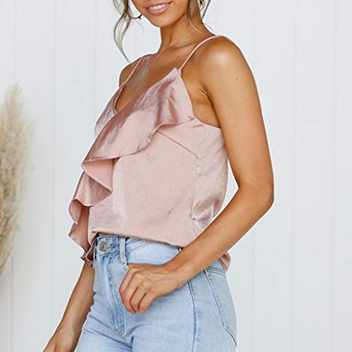 35dc67e5ae536 Fainosmny Womens Vest Sexy Sling Tops Ruffles Camisole Solid Tank Tops  Fashion Girls Vest Easy Gilet