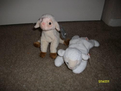 Set of 2 Sheep/Lamb Beanie Baby's-Ewey and - Beanie Fleece Babies Ty