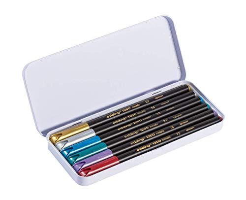 Edding 4-1200 - Caja 6 rotuladores con punta de fibra, surtido, colores metalicos: Amazon.es: Oficina y papelería