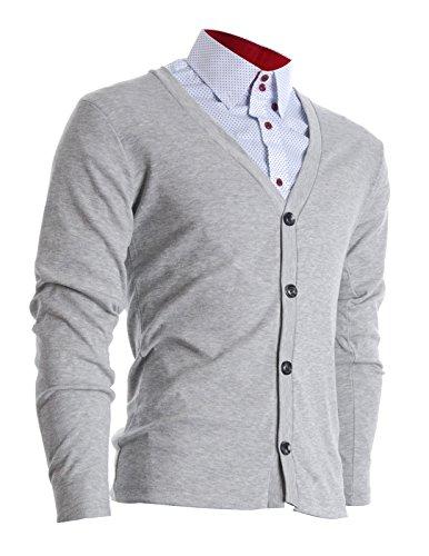 FLATSEVEN Herren Slim Fit Stilvolle Button Up Strickjacke (C100) Grau, L