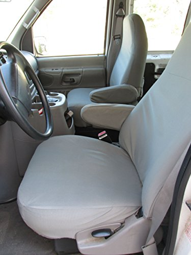 Durafit Seat Covers Made to fit 1993-2007 Ford E-Series Van Captain Chairs with One Armrest Per Seat, Exact Fit Seat Covers in Gray Twill ()
