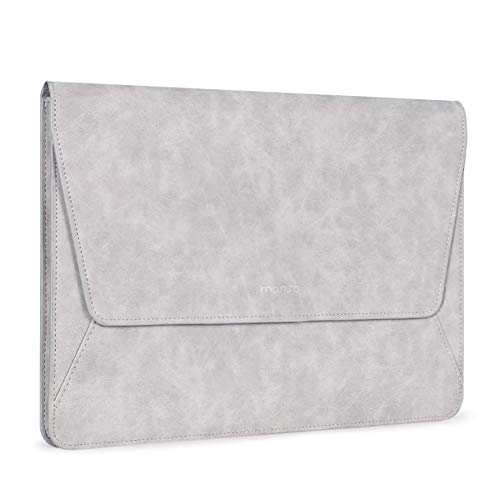 MOSISO Laptop Sleeve Compatible with 13-13.3 Inch MacBook Air/MacBook Pro Retina/2019 2018 Surface Laptop 3/2/Surface Book 2, PU Leather Ultra Slim Flap Style Protective Case, Grey