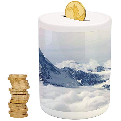 (Lake House Decor,Piggy Bank,Printed Ceramic Coin Bank Money Box for Cash Saving,Scenery of Mountain Summit Magical Scenery Natural Paradise Pattern)