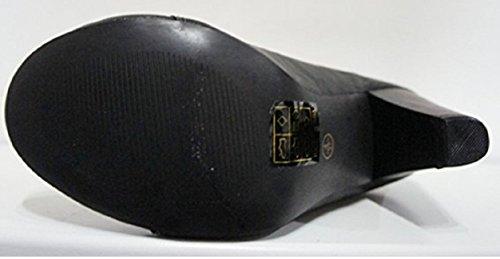 Haute Sangle Spot Coffre Noir Cheville De Doublure Fourrure Dentelle Avec Sur Jusqu'en Talon En qT5Tw