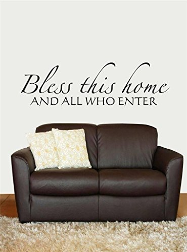 Top Selling Decals - Prices Reduced : Bless This Home, And All Who Enter Welcome Sign Picture Art Inspirational Scripture Bible Quote Peel & Stick Sticker - Vinyl Wall Size : 11 Inches X 31 Inches - 22 Colors Available