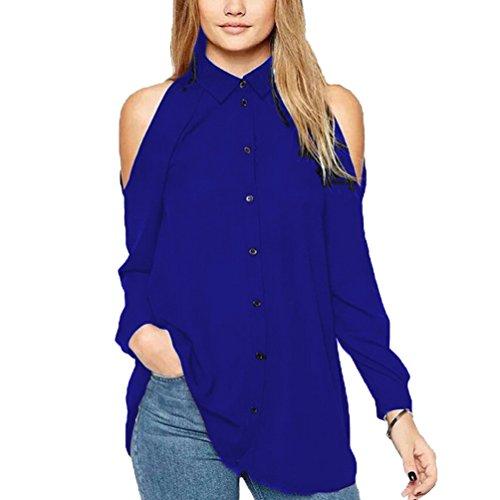 Mujer Gasa Floja Blusa Manga Large Casual Camisetas Fuera del Hombro Colgando El Cuello Camisetas Azul Marino