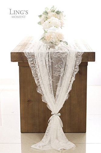 Ling's moment 62x120 Inch White Wedding Lace Tablecloth Overlay, Summer & Fall Rustic Chic Wedding Reception Table Runner, Boho Party Decor, Baby&Bridal Shower Decor