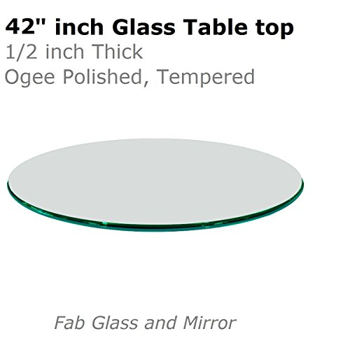 Fab Glass and Mirror 1/2'' Thick Ogee Tempered Round Glass Table Top, 42'' by Fab Glass and Mirror