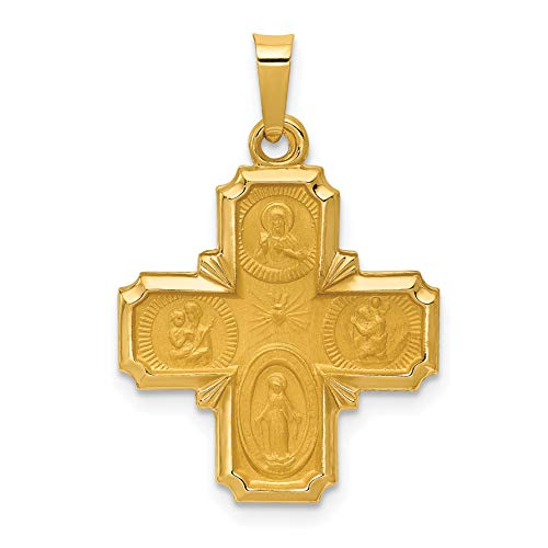 14k Yellow Gold Hollow Four Way Cross Cruciform Pendant 22x18mm