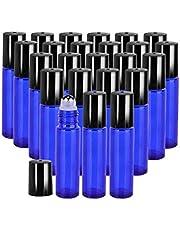 25PCS 10ml Blue THICK Essential Oil glass bottle Roller Bottles Steel Ball Roll on Bottle (3XDropper,2XBall Opener,2XFunel)
