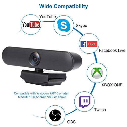 New Upgraded Webcam with Dual Microphone, USB Computer 1080P HD Streaming Web Camera 360 Degree Rotatable for Desktop Laptop PC Mac with Flexible Rotatable Clip Dark Gray