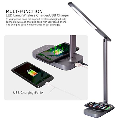 ROZKY Desk Lamp with Wireless Charging for iPhone/Samsung/LG etc,USB Charging Port LED Desk Lamp,Stepless Sliding Dimmable/Timer/Touch/Memory Function,Grey by rozky (Image #1)