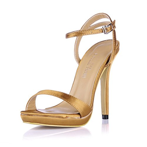 Simple Fashion Womens Open Toe High Heeled Pumps Stiletto Shoes SM00601 Silk Brown wtqGWN1MJv