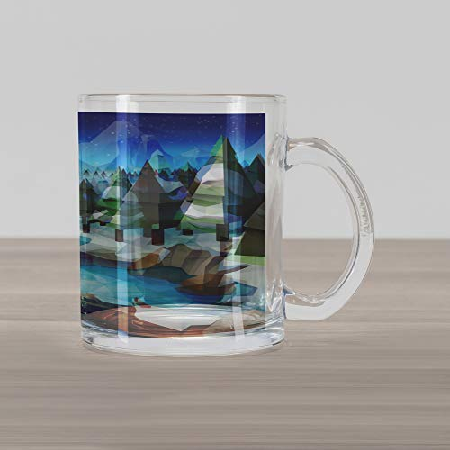 Ambesonne Northwoods Glass Mug, Fantastic Winterland Illustration with Low Poly Style River Mountains and Forest, Printed Clear Glass Coffee Mug Cup for Beverages Water Tea Drinks, Multicolor -