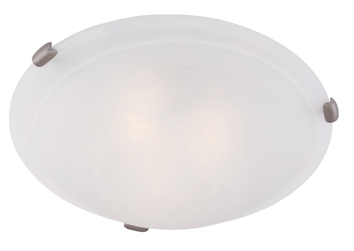 Livex Lighting 8013-91 Coronado 4 Light Brushed Nickel Flush Mount with White Alabaster Glass