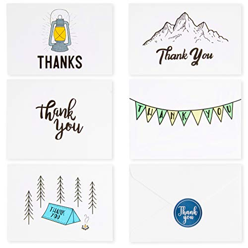 Endeavour Thank You Card Set | 50 Minimalist Adventure Theme Cards, Stickers and Envelopes in a Premium Magnetic Gift Box | 5 Unique Designs | 4 x 6 inch to ()