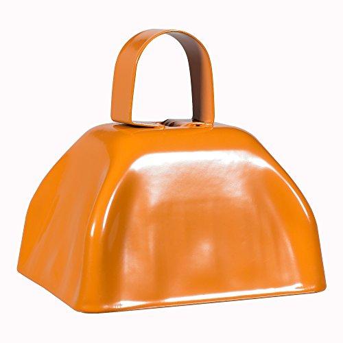 Metal Cowbells with Handles 3 inch Novelty Noise Maker - 12 Pack (Orange)