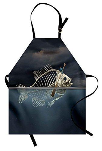 Lunarable Surrealistic Apron, Man with Fish Skeleton in The Sea Kayaking Lifestyle Climate Illustration, Unisex Kitchen Bib Apron with Adjustable Neck for Cooking Baking Gardening, Blue Grey Cream ()