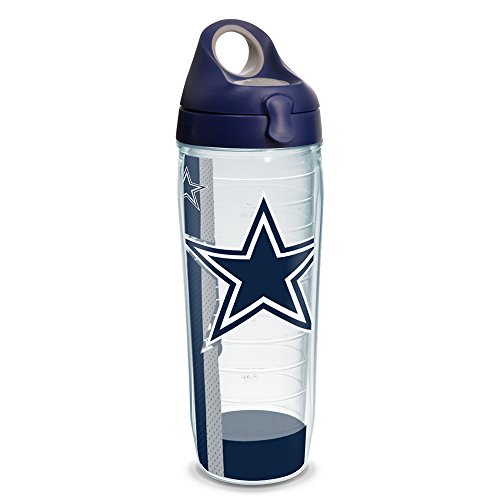 - Tervis 1231110 NFL Dallas Cowboys Stripe Tumbler with Wrap and Navy with Gray Lid 24oz Water Bottle, Clear
