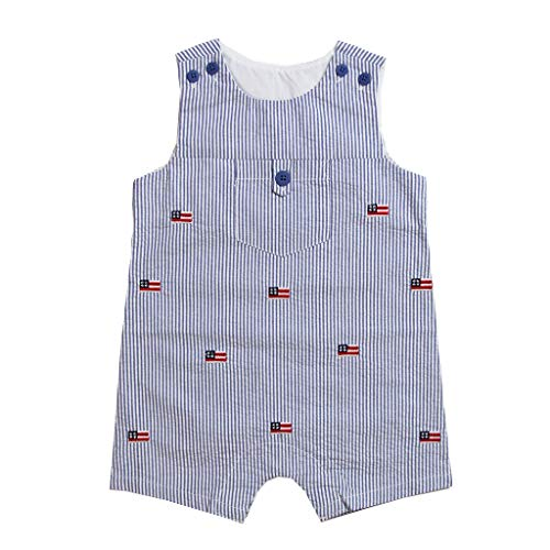 Good Lad Newborn/Infant Seesucker Shortall with Flag Embroideries (24M) Navy
