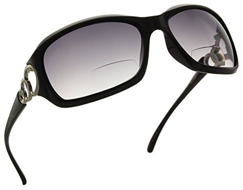 Fiore Fashionable Bifocal Reading Sunglasses Readers for Women [Black, - Reading Black Sunglasses