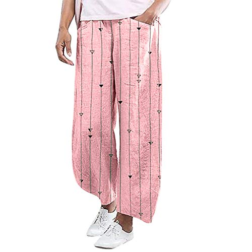 YKARITIANNA Ladies'Stripe Printing Elastic Waist Pull-On Force Pocket Comfy Casual Broad-Legged Trousers Pants Leggings Pink