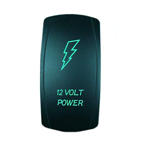 QUNQI STAR 5 pin Laser Backlit Rocker Switch 12 VOLT POWER 20A 12V On/off LED Light Toggle Switch (Green)