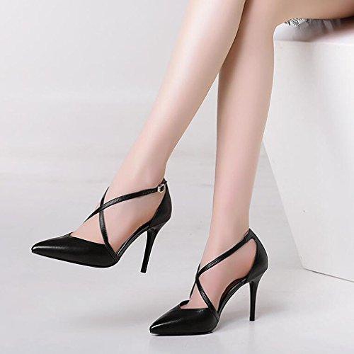 Hauts Taille Sexy Talons Stiletto Simples Creux CN39 Talons Sandales Couleur EU39 Escarpin MUMA Baotou Chaussures Femmes Noir Aiguilles UK6 Noir pnq1wZECx