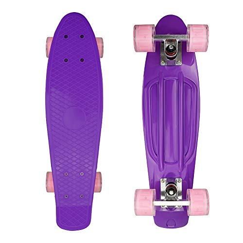 "Nordmiex Complete 22"" Cruiser Skateboards for Beginners - Kids Board with Sturdy Deck Plastic Banana Board with Colorful LED Wheels for School and Travel"