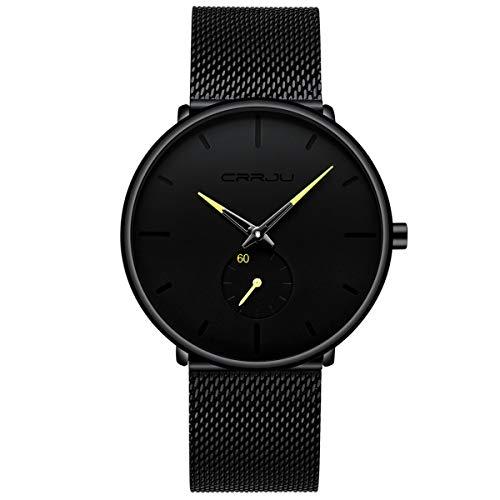 Classic Mesh Womens Watch - Men's Watch Unisex Minimalist Watch Waterproof Watch Classic Gift Mesh with Yellow Pointer
