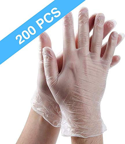 200 Pack Disposable Clear Plastic Gloves,Plastic Disposable Food Prep Glove,Disposable Polyethylene Work Gloves for…