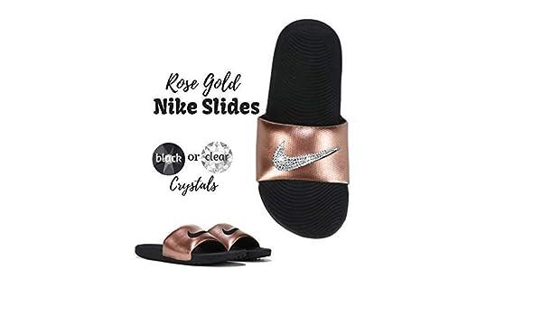 603aa5ab1c451 Amazon.com: Women's NIKE Kawa SLIDES with Swarovski Crystals Rose ...