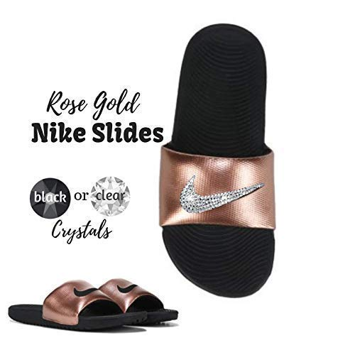 c727ebb2bc5 Amazon.com  Women s NIKE Kawa SLIDES with Swarovski Crystals Rose ...