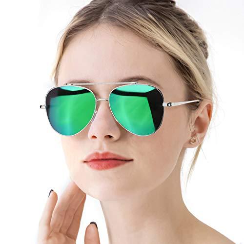 RazLiubit Polarized Oversized Sunglasses for Women, Mirrored Lens Metal Frame Eyewear, UV 400 Protection (Green Mirrored Lens Cat Eyes) ()