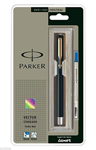 Parker Vector Standard GT Gold Trim Rollerball Pen - Black Body - New - Blue Ink